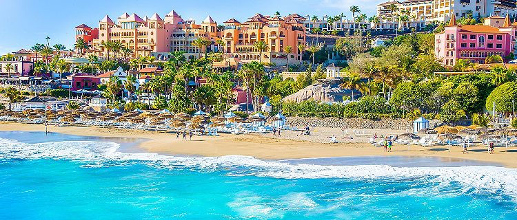 View of El Duque beach at Costa Adeje in Tenerife, Canary Islands