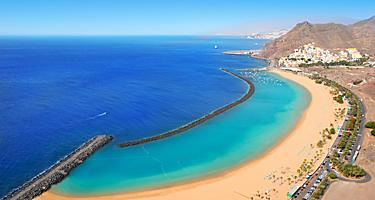 An aerial view of Las Teresiteas beach in Tenerife, Canary Islands