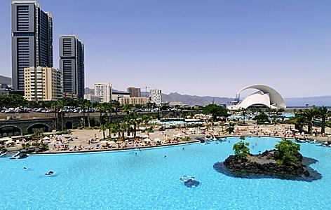A large outdoor swimming pool in Santa Cruz de Tenerife, Canary Islands