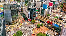 Aerial view of the Shibuya Crossing in Tokyo, Japan