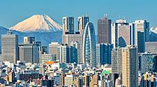 The Tokyo, Japan skyline with Mount Fuji in the distance