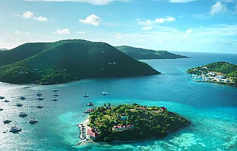 An aerial view of islands and mountains in Tortola, British Virgin Island