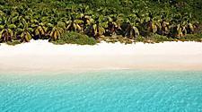 Where the beach meets the sand in Tortola, British Virgin Island