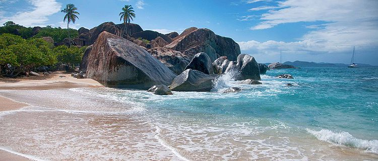 The shore of the beaches with giant rocks in Tortola, British Virgin Island