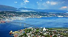Aerial view of Tromso, Norway and the Tromso bridge
