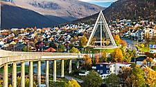 The Arctic Cathedral towering over the the Tromso, Norway cityscape
