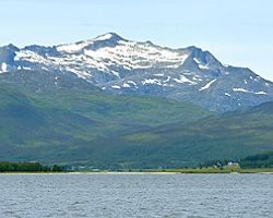 The mountain landscape near Tromso, Norway
