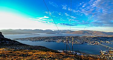 View of Tromso, Norway from Storstein Mountain