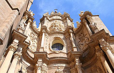 Close up view of a cathedral in Valencia, Spain