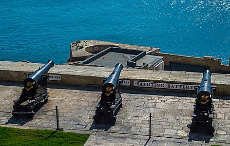 Three cannons on the coast of Valletta, Malta