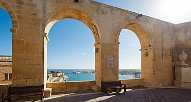 Upper Barrakka Gardens terrace in Valletta, Malta
