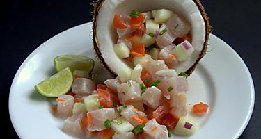 Ceviche on a white plate