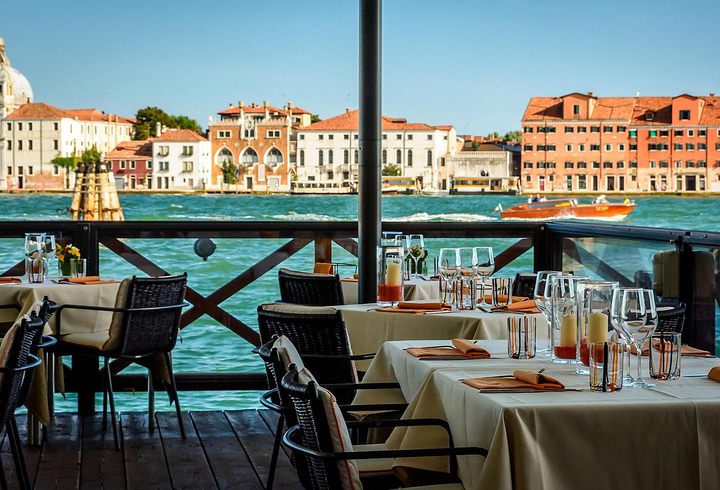 Venice, Italy, waterfront eatery and cafe