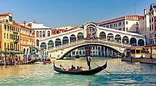 A gondola near the Rialto Bridge in Venice