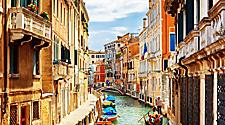 The narrow Rio Marin canal in Venice, Italy