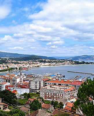 Hilltop city view of Cangas on the Bay of Vigo, Spain