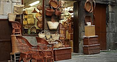 A store in Vigo, Spain that sells wicker baskets and goods