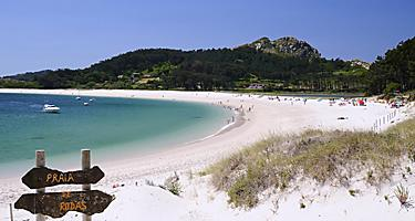 A beach in Cies Islands in Spain