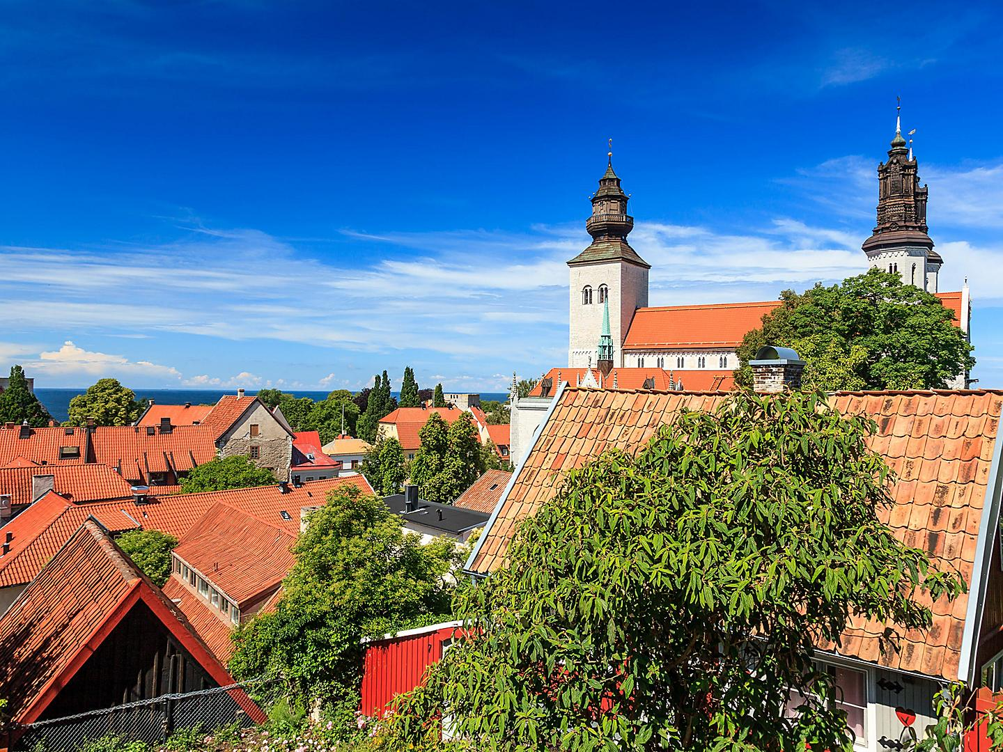 Visby, Sweden, View of the building rooftops
