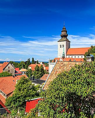 Rooftop view of the old town in Visby, Sweden