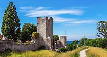 The towers of the defensive walls in Visby, Sweden