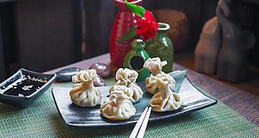 Dumplings of Pan-Asian cuisine from a restaurant in Vladivostok, Russia