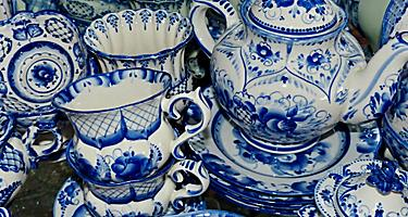 Closeup of traditional Gzhel style, ceramic tableware in a shop in Vladivostok, Russia