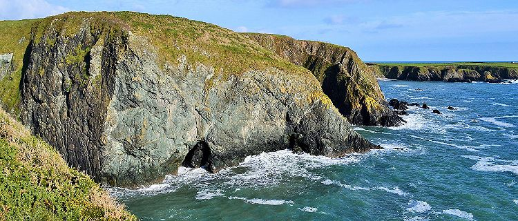 A cliff on the coast of Waterford, Ireland