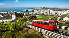 The Wellington Cable Car travelling with a view of Wellington in the background