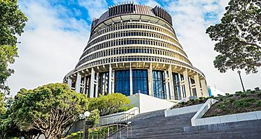 Beehive parliament building in Wellington, New Zealand