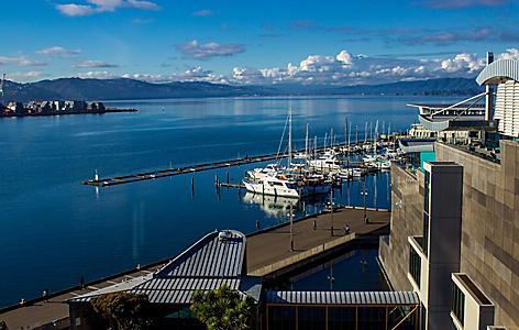 Docks near the Te Papa museum in Wellington, New Zealand