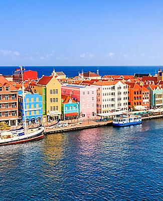 Colorful buildings along the coast of Willemstad, Curacao