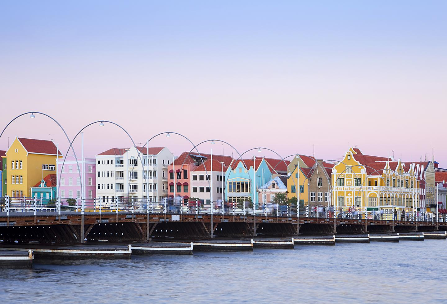 Colorful shoreside houses by the Port in Willemstad, Curaçao