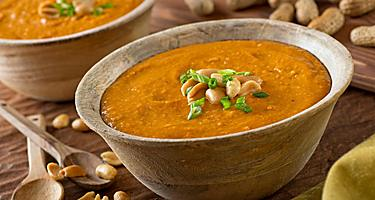 Two bowls of peanut soup
