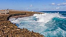 Giant waves crashing on the coast of Willemstad, Curacao in Shete Boka Park