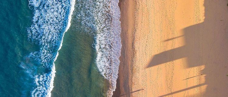 Aerial view of a beach in Australia