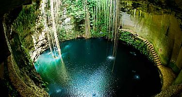 Underground sinkholes caves called cenotes that you can swim in in Yucatan, Mexico