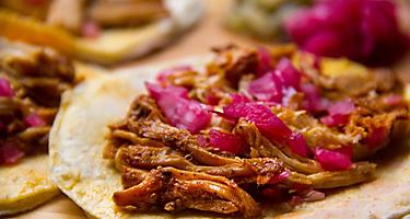 Pork tacos is a classic cuisine in Yucatan, Mexico