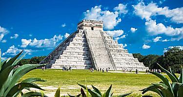 View of ancient mayan ruins called Chicne Itza in Yucatan, Mexico