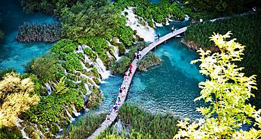 Aerial view of the Plitvice Lakes in Croatia