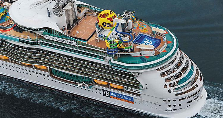 An aerial view of Independence of the Seas, with SkyPad and the Perfect Storm water slide