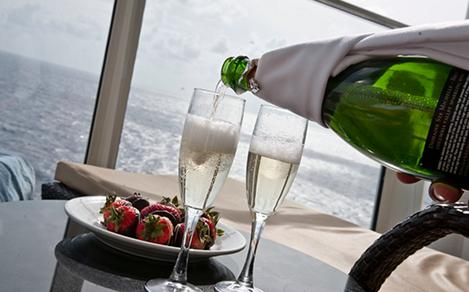 Champagne served on the balcony in the Royal Suite