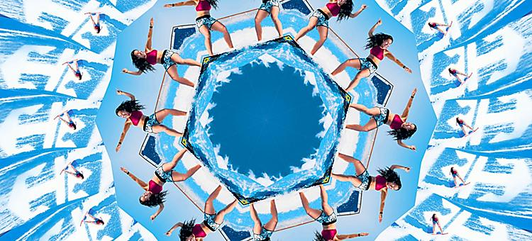 A kaleidoscope image of a girl on Flo Rider