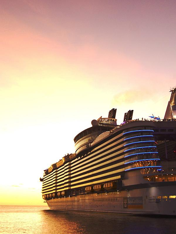 Symphony of the Seas with Sunset in the Background
