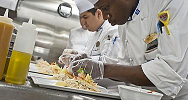 Crew, Chefs, Seafood and Beverage, line of preparation, in the kitchen, 2011 Brand campaign details