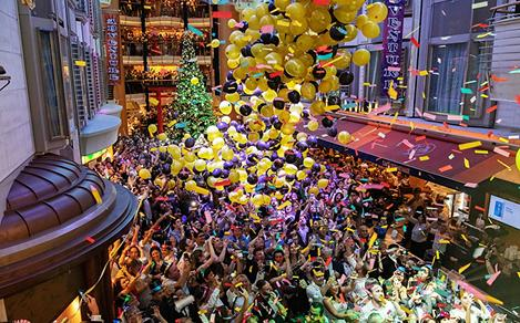 Guests Enjoying the New Years Balloon Drop