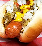 Close-Up of Hot Dog at Dog House