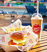 Hamburger, Fries and Milkshake by the Pool