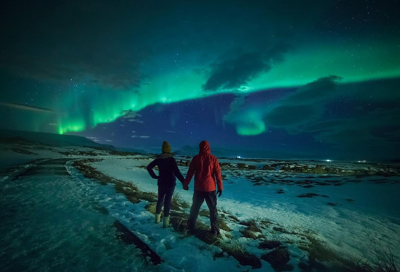 Alaska Fairbanks Northern Lights Couple Enjoying Night Sky