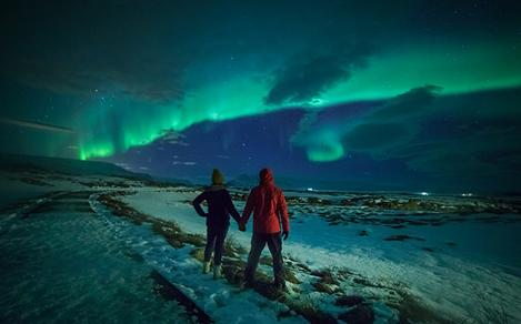 Alaska Fairbanks Northern Lights Couple Enjoying Night Sky